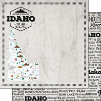 Scrapbook Customs - Postage Map Collection - 12 x 12 Double Sided Paper - Idaho