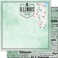 Scrapbook Customs - Postage Map Collection - 12 x 12 Double Sided Paper - Illinois
