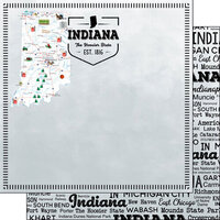 Scrapbook Customs - Postage Map Collection - 12 x 12 Double Sided Paper - Indiana