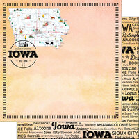 Scrapbook Customs - Postage Map Collection - 12 x 12 Double Sided Paper - Iowa