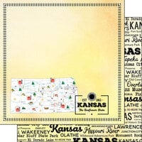 Scrapbook Customs - Postage Map Collection - 12 x 12 Double Sided Paper - Kansas