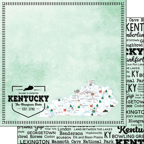 Scrapbook Customs - Postage Map Collection - 12 x 12 Double Sided Paper - Kentucky