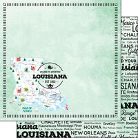 Scrapbook Customs - Postage Map Collection - 12 x 12 Double Sided Paper - Louisiana