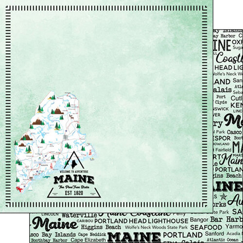 Scrapbook Customs - Postage Map Collection - 12 x 12 Double Sided Paper - Maine