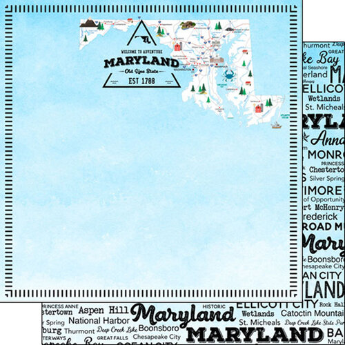 Scrapbook Customs - Postage Map Collection - 12 x 12 Double Sided Paper - Maryland