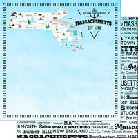 Scrapbook Customs - Postage Map Collection - 12 x 12 Double Sided Paper - Massachusetts