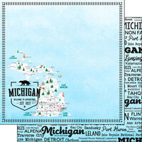 Scrapbook Customs - Postage Map Collection - 12 x 12 Double Sided Paper - Michigan