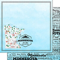 Scrapbook Customs - Postage Map Collection - 12 x 12 Double Sided Paper - Minnesota