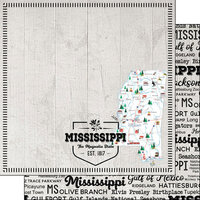 Scrapbook Customs - Postage Map Collection - 12 x 12 Double Sided Paper - Mississippi