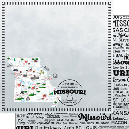 Scrapbook Customs - Postage Map Collection - 12 x 12 Double Sided Paper - Missouri