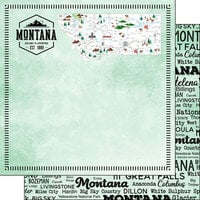 Scrapbook Customs - Postage Map Collection - 12 x 12 Double Sided Paper - Montana