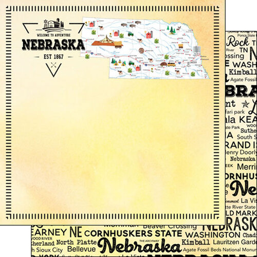 Scrapbook Customs - Postage Map Collection - 12 x 12 Double Sided Paper - Nebraska