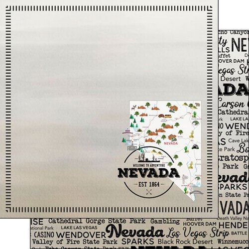Scrapbook Customs - Postage Map Collection - 12 x 12 Double Sided Paper - Nevada