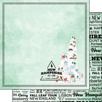 Scrapbook Customs - Postage Map Collection - 12 x 12 Double Sided Paper - New Hampshire
