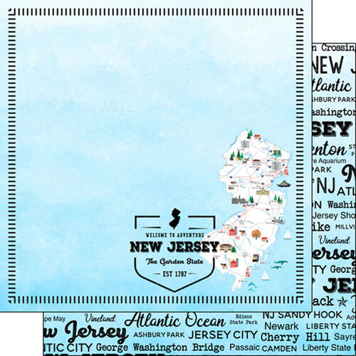 Scrapbook Customs - Postage Map Collection - 12 x 12 Double Sided Paper - New Jersey