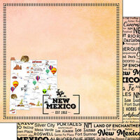 Scrapbook Customs - Postage Map Collection - 12 x 12 Double Sided Paper - New Mexico