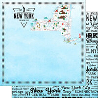 Scrapbook Customs - Postage Map Collection - 12 x 12 Double Sided Paper - New York