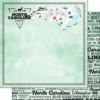 Scrapbook Customs - Postage Map Collection - 12 x 12 Double Sided Paper - North Carolina