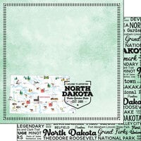 Scrapbook Customs - Postage Map Collection - 12 x 12 Double Sided Paper - North Dakota