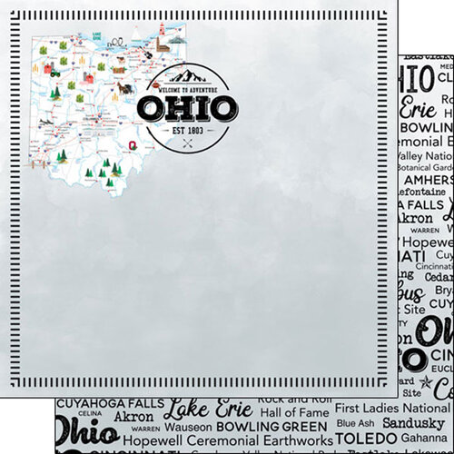Scrapbook Customs - Postage Map Collection - 12 x 12 Double Sided Paper - Ohio