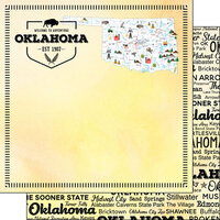 Scrapbook Customs - Postage Map Collection - 12 x 12 Double Sided Paper - Oklahoma