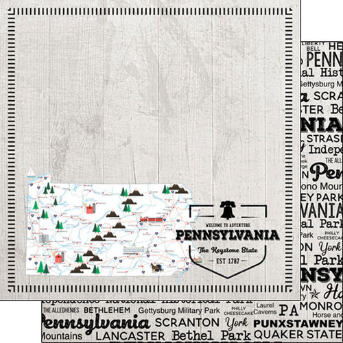 Scrapbook Customs - Postage Map Collection - 12 x 12 Double Sided Paper - Pennsylvania