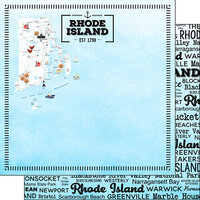 Scrapbook Customs - Postage Map Collection - 12 x 12 Double Sided Paper - Rhode Island