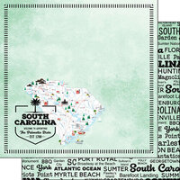 Scrapbook Customs - Postage Map Collection - 12 x 12 Double Sided Paper - South Carolina