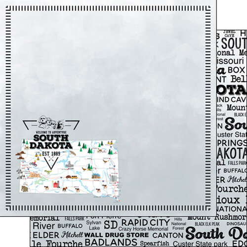 Scrapbook Customs - Postage Map Collection - 12 x 12 Double Sided Paper - South Dakota