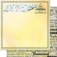 Scrapbook Customs - Postage Map Collection - 12 x 12 Double Sided Paper - Tennessee