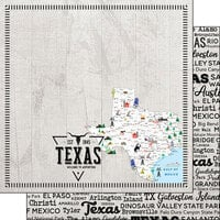 Scrapbook Customs - Postage Map Collection - 12 x 12 Double Sided Paper - Texas
