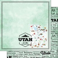 Scrapbook Customs - Postage Map Collection - 12 x 12 Double Sided Paper - Utah