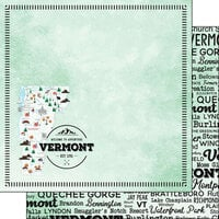 Scrapbook Customs - Postage Map Collection - 12 x 12 Double Sided Paper - Vermont