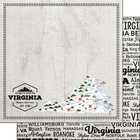 Scrapbook Customs - Postage Map Collection - 12 x 12 Double Sided Paper - Virginia
