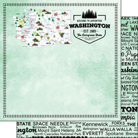 Scrapbook Customs - Postage Map Collection - 12 x 12 Double Sided Paper - Washington