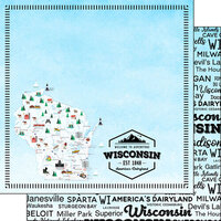 Scrapbook Customs - Postage Map Collection - 12 x 12 Double Sided Paper - Wisconsin