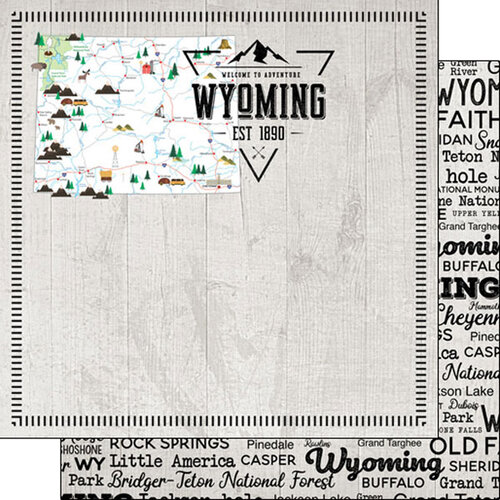Scrapbook Customs - Postage Map Collection - 12 x 12 Double Sided Paper - Wyoming