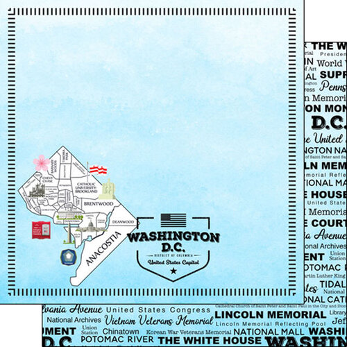 Scrapbook Customs - Postage Map Collection - 12 x 12 Double Sided Paper - Washington DC