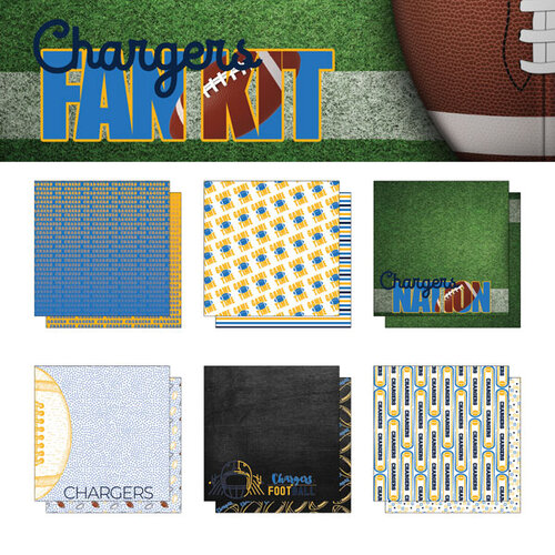 Scrapbook Customs - Football Fan Collection - 12 x 12 Collection Kit - Chargers