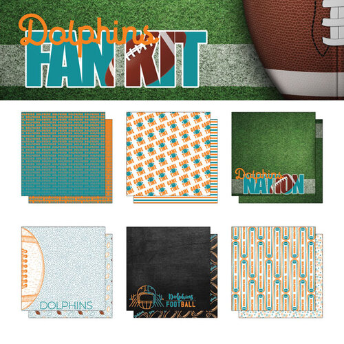 Scrapbook Customs - Football Fan Collection - 12 x 12 Collection Kit - Dolphins