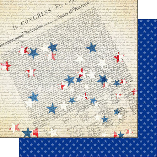 Scrapbook Customs - Military Collection - 12 x 12 Double Sided Paper - Declaration Stars