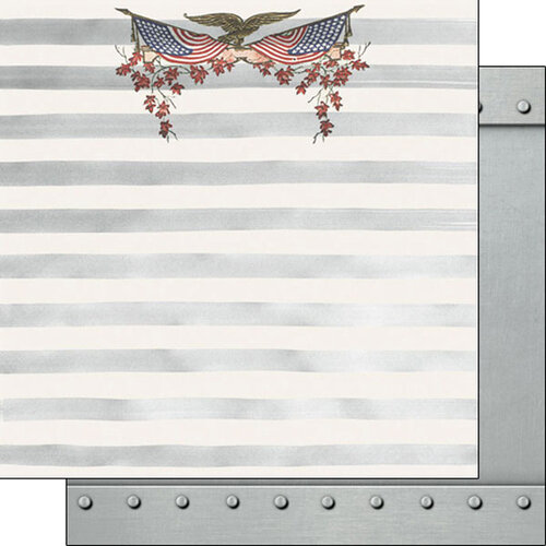 Scrapbook Customs - Military Collection - 12 x 12 Double Sided Paper - Patriotic Bunting Metal
