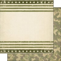 Scrapbook Customs - Military Collection - 12 x 12 Double Sided Paper - Green Border and Camo