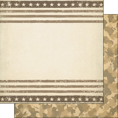 Scrapbook Customs - Military Collection - 12 x 12 Double Sided Paper - Tan Border and Camo
