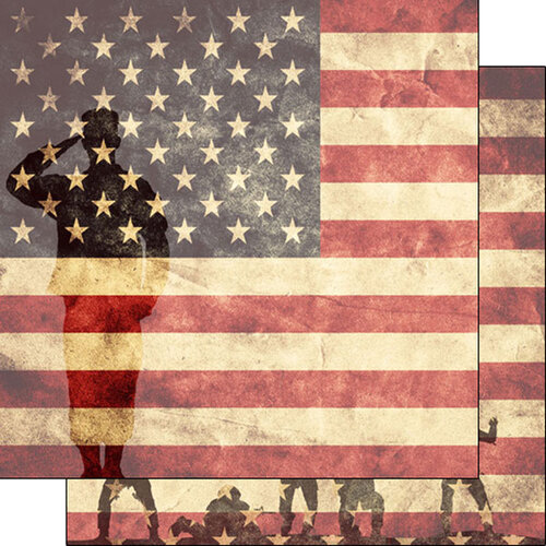 Scrapbook Customs - Military Collection - 12 x 12 Double Sided Paper - Military Service US Flag