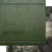 Scrapbook Customs - Military Collection - 12 x 12 Double Sided Paper - Military Metal