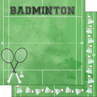 Scrapbook Customs - Watercolor Sports Collection - 12 x12 Double Sided Paper - Badminton