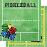 Scrapbook Customs - Watercolor Sports Collection - 12 x12 Double Sided Paper - Pickleball