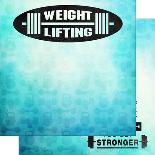 Scrapbook Customs - Watercolor Sports Collection - 12 x12 Double Sided Paper - Weight Lifting