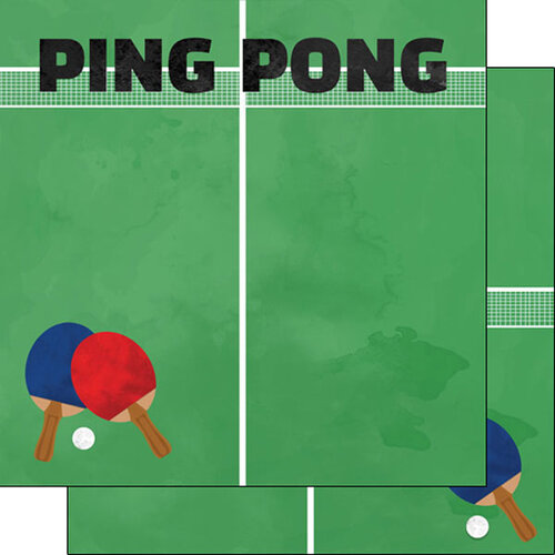 Scrapbook Customs - Watercolor Sports Collection - 12 x12 Double Sided Paper - Ping Pong